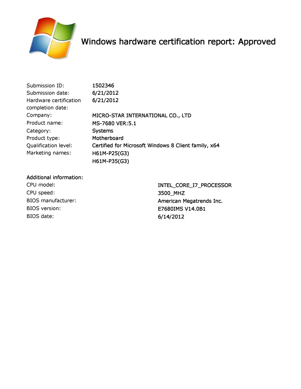 Msis mainboards officially certified for windows 8 1betcityfo Choice Image