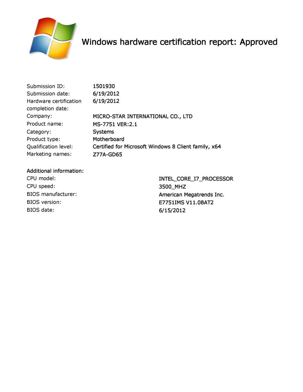 Msis mainboards officially certified for windows 8 1betcityfo Image collections